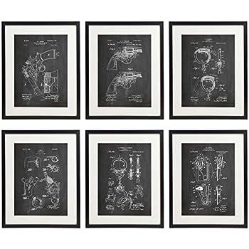 Idiopix police 02 patent wall decor chalkboard art print set of 6 prints unframed