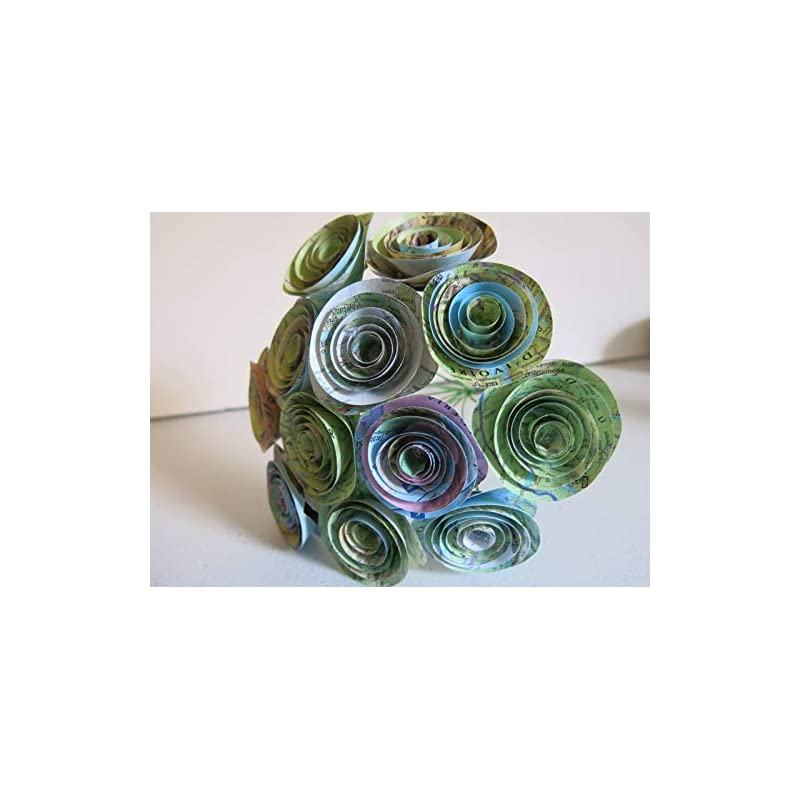 silk flower arrangements map rose bouquet 1.5 inch paper flower centerpiece travel theme grad gift one dozen