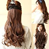 AGPtek® 24 inchs Lady Stylish Long Curl Wavy Clip-on Hair Extension Wigs Light Brown