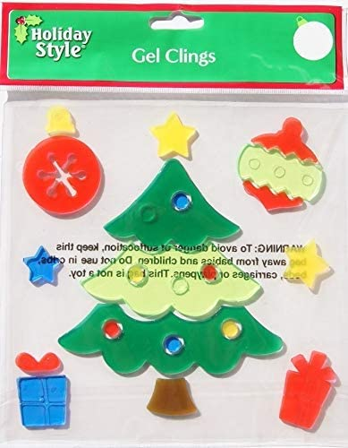 HOLIDAY TIME Christmas Winter Gel Window Clings Christmas Tree with Presents