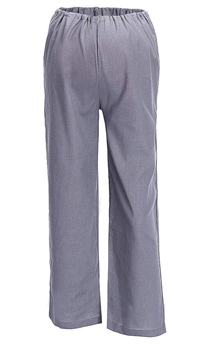Domple Mens Basic Straight Gothic Straight Leg Elastic Waist Long Pants