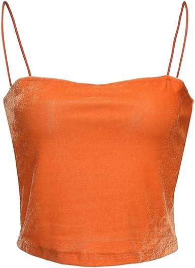 Lady Women Spaghetti Strap Velvet Vest Slim Sleeveless Tops Tank Blouse Camisole