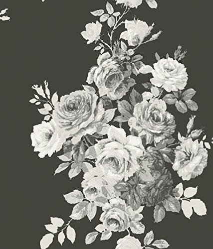 York Wallcoverings ME1533 Magnolia Home Vol. II Tea Rose Black/White on Black