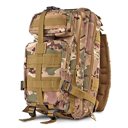 Price comparison product image Flexzion Tactical Backpack (CP Camo) Outdoor Military Unisex Rucksack Travel Molle Daypack Bag 30 L Capacity 600D Nylon for Camping Hiking Hunt Trekking with Multi Zippered Pocket