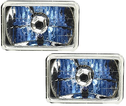 4x6 Universal Premium Glass Headlight Smoked Black Housing Diamond Cut Lens H4 Xenon Halogen Head Lamp Bulb 90/100 Watt included H4666 H4642 H4651 H4656 Black Diamond Bright Xenon Bulb