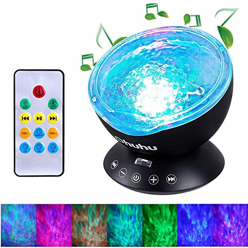 (Ocean Wave Projector, Ohuhu 12 LED 7 Colors Changing Remote Control Night Light with Built-in Music Player, Undersea Projector Lamp for Kids Adults Bedroom Living Room Decoration, Black)