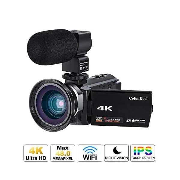 """Videocamera 4K, CofunKool WiFi Ultra Alta Definizione 48MP Digitale Videocamera, Sensore CMOS, IR Visione Notturna, 3.0"""" IPS Schermo, con Microfono e Obiettivo Grandangolare 1 spesavip"""