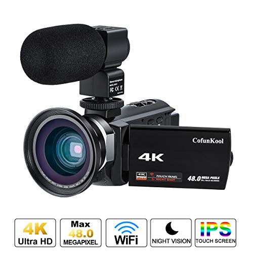 CofunKool 4K Camcorder WiFi Vlogging Video Camera Ultra HD + External Microphone + Wide Angle Lens + Battery Charger + Mini Tripod + 2 Betteries