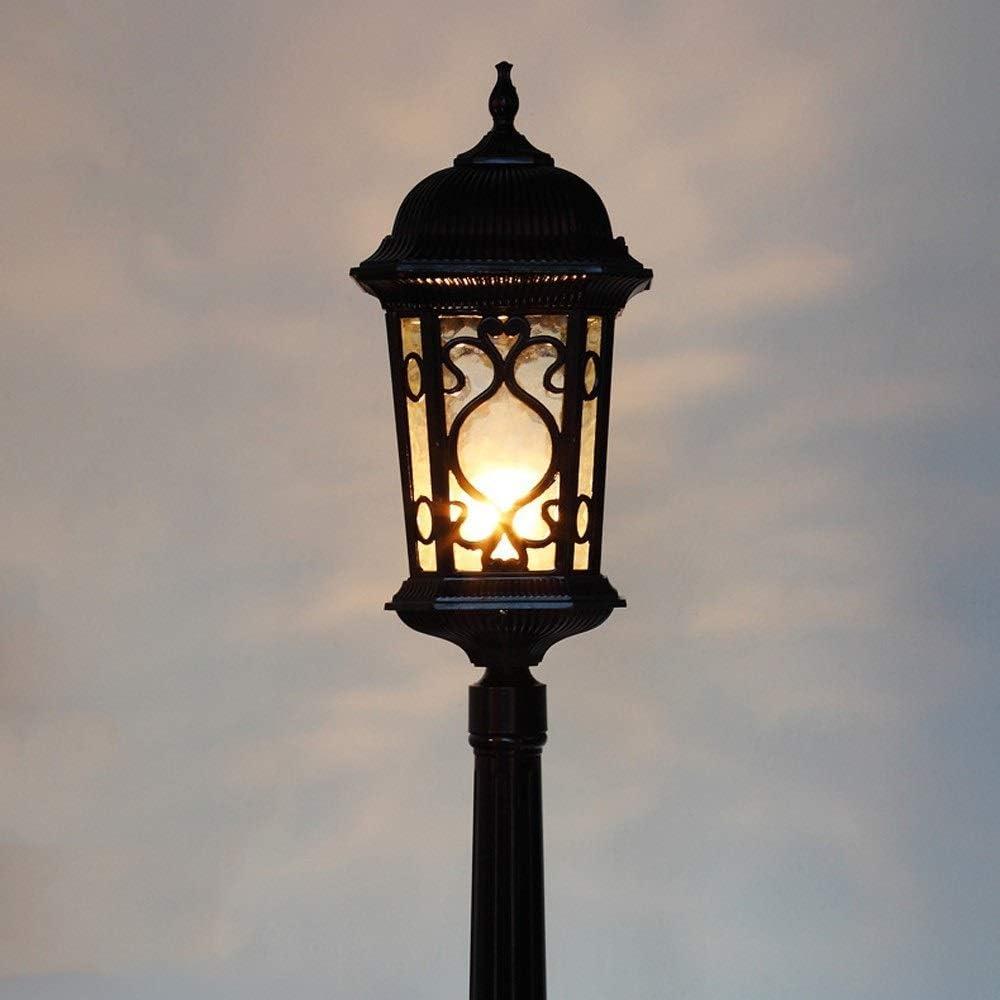 ビクトリア朝の屋外の芝生ランプ防水E27コートヤード・ポストランタンコミュニティ屋外ヴィラ街灯ヨーロッパの風景庭のフェンススクエアハイポールポストグラスランタン lsmaa (Color : Black, Size : 1.15m)