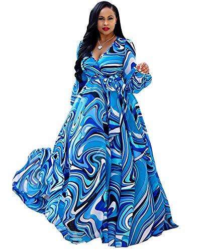Halfword Women's Summer Long Maxi Dresses - Floral Printed V Neck Long Sleeve Wrap Boho Dreses Blue