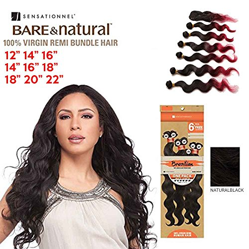 (Sensationnel Natural Body Weave 6pcs Virgin Remi Bundle Hair Bare and Natural Weaving Hair - Natural Color (12