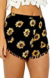 YUNY Women's Tassel Summer Hot Pants Floral Tribal Shorts Pants Black S