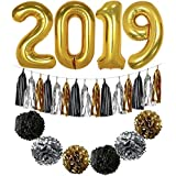 2019 Balloons, Gold for New-Year, Large, 40 Inch | Black Gold and White Paper Pompoms and Tassel Kit | New Years Eve Party Supplies 2019 | Graduations Party Supplies 2019, New Years Party Decorations