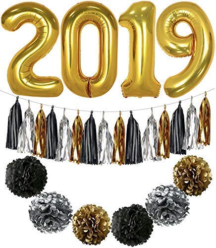 (2019 Balloons, Gold for New-Year, Large, 40 Inch | Black Gold and White Paper Pompoms and Tassel Kit | New Years Eve Party Supplies 2019 | Graduations Party Supplies 2019,)