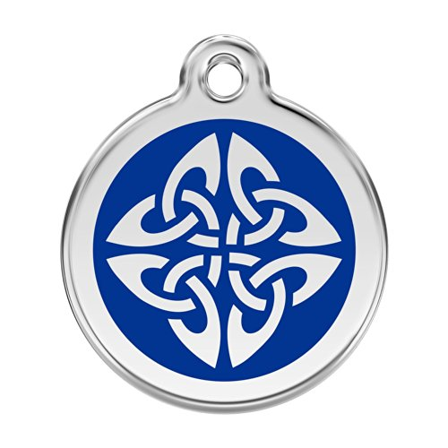 Red Dingo Custom Engraved Stainless Steel and Enamel Dog ID Tag - Celtic Knot (Dark Blue, Medium)