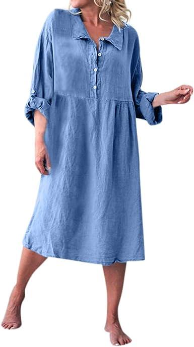 Largo Mujer Casual Vestido de algodón y Lino Vestido en Color ...