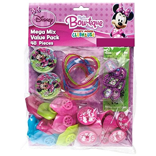 Disney Minnie Mouse Birthday Party Favours Set (48 Pack), Multi Color, 11 1/4