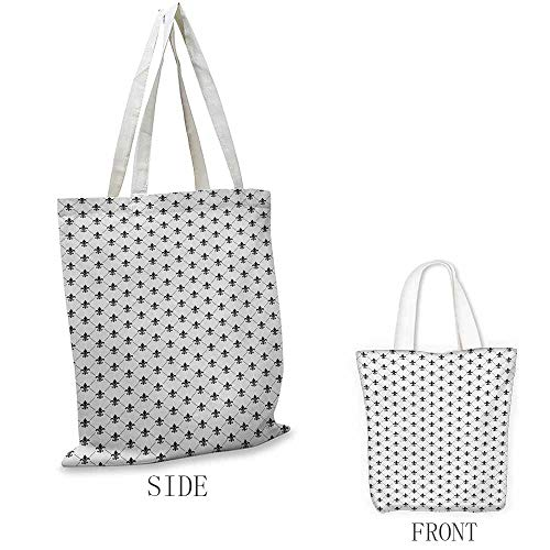Fleur De Lis Shopping bag series French Damask Composition Monochrome Pattern Royal Classic Insignia Motif Insulated shopping bag W15.75 x L17.71 Inch Black ()