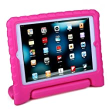HDE iPad Mini 2 3 Case for Kids - Shock Proof Rugged Heavy Duty Impact Resistant Protective Cover Handle Stand for Apple iPad Mini 1 2 3 Retina (Hot Pink)