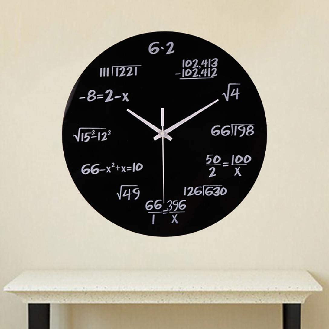 Creative Math Clock Mathematics Formula Wall Clock Home Office Decor WST