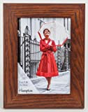 NEW57DO-FBA New England with Dark Wood Finish Solid Oak Wood 5x7in (13x18cm) Photo Frame Beautiful Mortice Corner Joints Table Top or Wall Hang by Hampton Frames