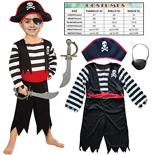 Pirate Costume Melissa And Doug (Children's Pirate Costume for Toddlers Boys Girls with All in one Pirate Suit,Cutlass,Eyepatch (Toddler3-4,)