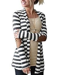 Women's Black White Elbow Patch Shawl Collar Striped Open...