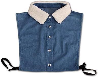 MI TU Mujer/Hombre Camisa de Cuello de Terciopelo Falso Cuello Denim Tie Moda Desmontable Cuello Falso Collar de Falda Blusa Superior Ropa Accesorios: Amazon.es: Ropa y accesorios
