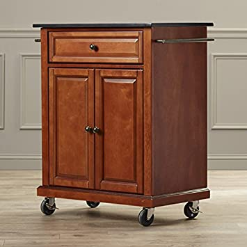 Kitchen Island Cart On Wheels With Granite Top Rolling Storage Cabinet  (Classic Cherry)