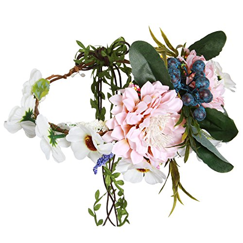 Valdler Aesthete Chrysanthemum Flower Crown Headband Halo for Wedding Festivals Light Pink by Valdler