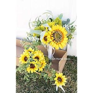 Sweet Home Deco Silk Sunflower Leaves Greenery Wedding, Bouquet Bridal Bridesmaid Bouquet Boutonniere, Rustic Wedding, Boho Bouquets 8