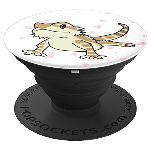 Bearded Dragon, Reptile, Lizard, Hearts, Love - PopSockets Grip and Stand for Phones and Tablets -