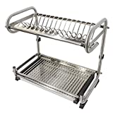 Probrico Wall Mounted Dish Drainer Rack Stainless Steel 19.6 inch Dish Drying Rack Plates Bowls Storage Organizer Holder