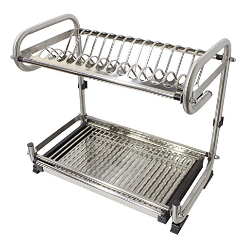 Probrico Wall Mounted Dish Drainer Rack Stainless Steel 19.6 inch Dish Drying Rack Plates Bowls Storage Organizer Holder by Probrico