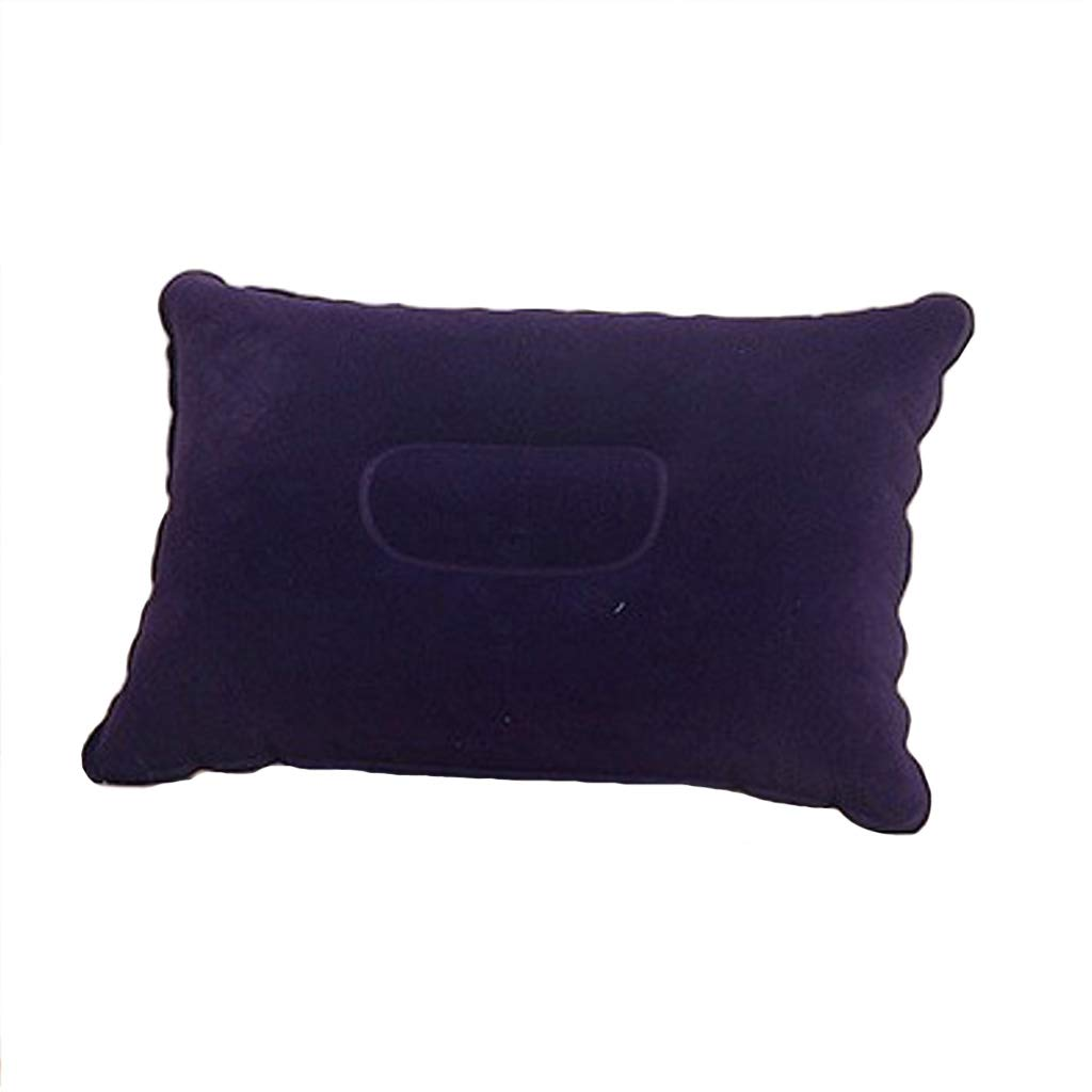 Dark blueee Outdoor Travel Square Inflatable Pillow, Thick Flocking Household Lunch Break Pillow, Cushion Lumbar Pillow