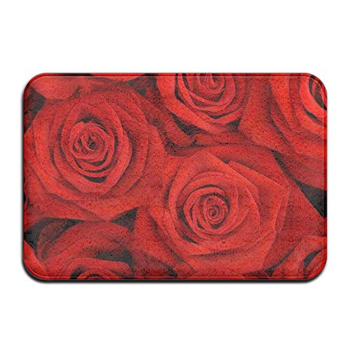 - City Flower Red Roses,Non Slip Machine Washable Doormat Home Decor Rug Front Door Mats Thicken Playmat Multi-Purpose Floorcover 31.5(L) X 19.7(W) Inch