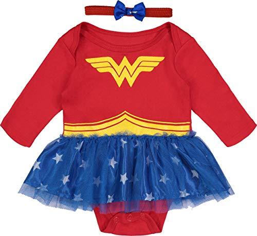 Wonder Woman Baby Girls' Costume Bodysuit Dress with Headband & Cape, Red 18 Months