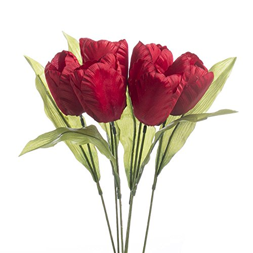 Tulip Stem Parrot (Factory Direct Craft Red Artificial Parrot Tulip Stems for Indoor Decor - 12 Stems)
