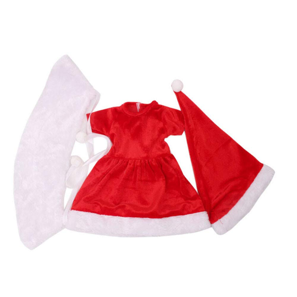 A IGEMY /_ For American Girl Doll Clothes Christmas Clothes Dress Hat Doll Clothes Accessories For 18 Inch American Girl Bitty Baby Alive Doll