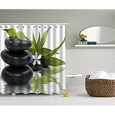 COCOSCO Durable Fabric Shower Curtains,Stylish,Decorative,Unique,Cool,Fun,Funky.Stone Leaves Flower SPA(Size 70 (W) x 72 (H) )