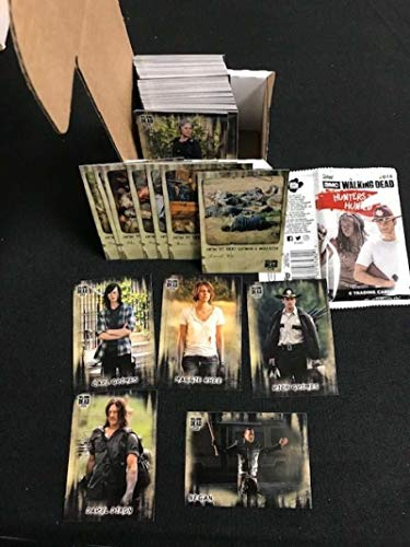 """2018 Topps Walking Dead Hunters and the Hunted Hand Collated Base Set 100 Cards comes with a FREE HOBBY WRAPPER. A second bonus item is the seven card set of """"How To Take Down a Walker"""". Includes all your favorite living and not so living characters. Rick Grimes, Carl Grimes, Glenn, Abraham, Negan, Tara, Sasha, Rosita, Maggie, Daryl, Carol, King Ezekiel, Morgan, Aaron, Spencer, Sam and Others."""