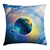 Ambesonne Apartment Decor Throw Pillow Cushion Cover by, Air View of Earth Atmospheric Circle with Orbit Spherical Solar System, Decorative Square Accent Pillow Case, 18 X 18 Inches, Blue White