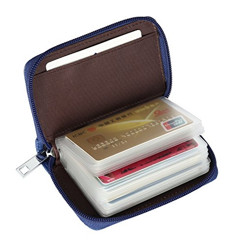 Credit Purse (Alimei Genuine Leather Credit Card Holder Zipper Wallet Card Organizer with 26 Card Slots (26 Card Blue))
