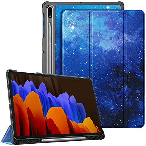 Fintie Slim Case for Samsung Galaxy Tab S7 Plus 12.4'' 2020 (Model SM-T970/T975/T976/T978) with S Pen Holder, Ultra Lightweight Tri-Fold Stand Cover with Auto Wake/Sleep, Starry Sky