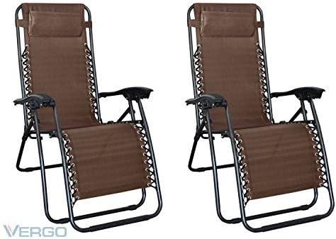 Vergo Dark Brown Zero Gravity Chair - 2 Pack