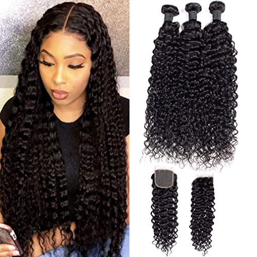 9A-Brazilian-Virgin-Curly-Wave-Human-Hair-3-Bundles-with-Lace-Closure-Free-Part-100-Unprocessed-Brazilian-Jerry-Curly-Hair-Weave-Bundles-with-4×4-Lace-Closure-Natural-Black-Color-141618-with-12