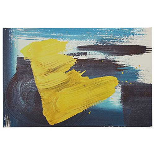 Rivet Abstract Brushed Blue and Yellow Canvas Print, 36'' x 24'' by Rivet