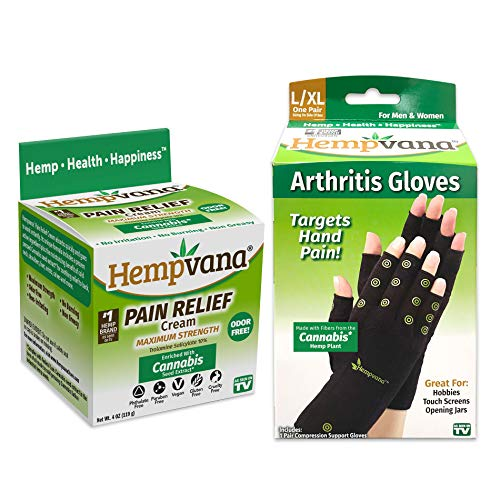 Hempvana Pain Relief Cream Enriched with Cannabis Seed Extract + Hempvana Arthritis Gloves - Compression Gloves Made with Hemp F