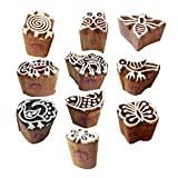 Clay Printing Stamps Arty Crafty Small Floral Shape Wooden Blocks