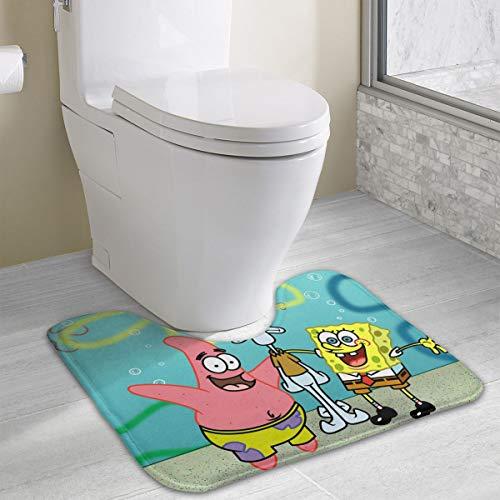 (Contour Bath Rug Spongebob Squarepants and Friends U-Shaped Toilet Floor Rug Shower Mat Non Slip Bathroom Carpet 19.3